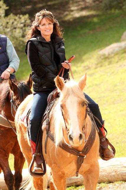 Sarah Palin at Reagan Ranch on Horseback
